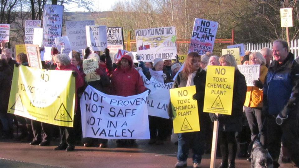 Protesters against a planned plastics-to-fuel plant in Appley Bridge in the UK in 2017.