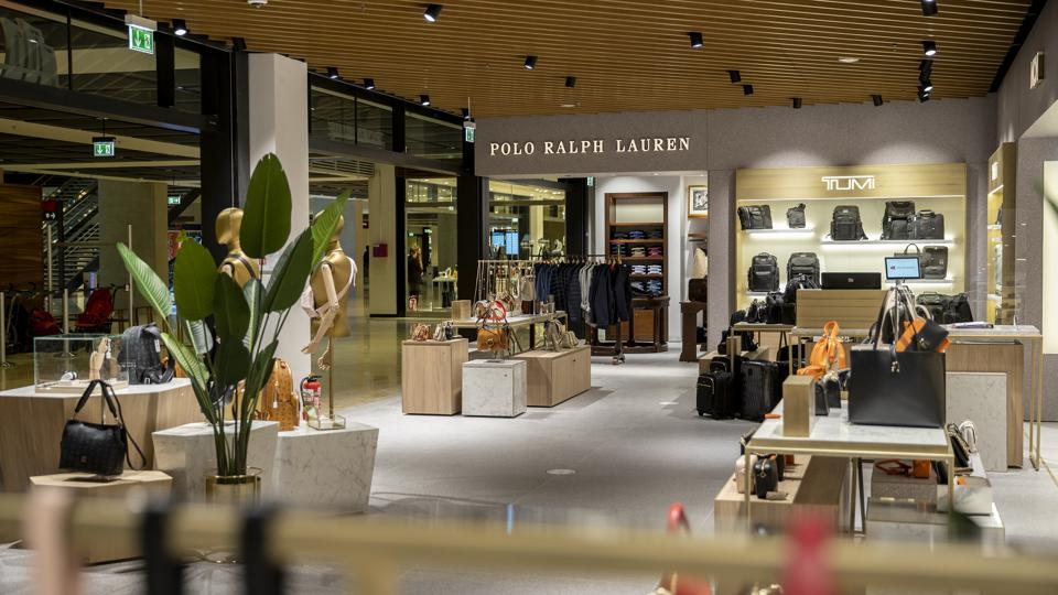 High-end brands Polo Ralph Lauren and Tumi at Berlin Airport.