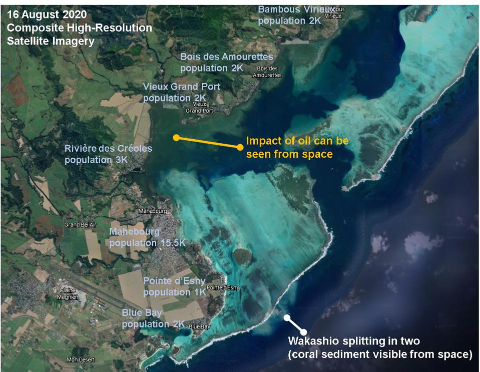Satellite analysis of the affected area reveal many towns and villages with high levels of exposure to the oil and chemicals spilled in the coral lagoon