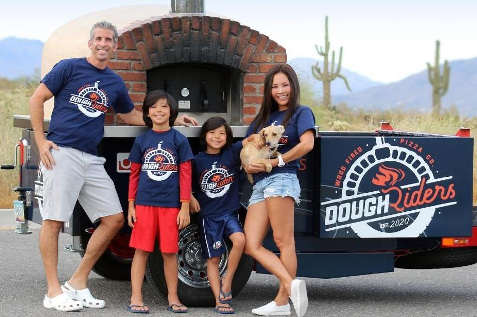 Arin Finger, owner of Dough Riders, with his family in Phoenix.