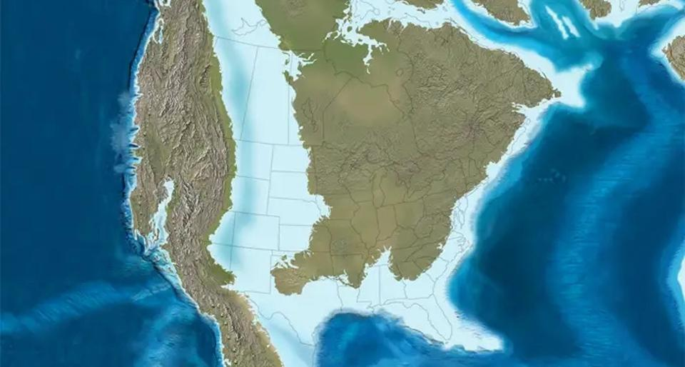The U.S. as it appeared roughly 100 million years ago.