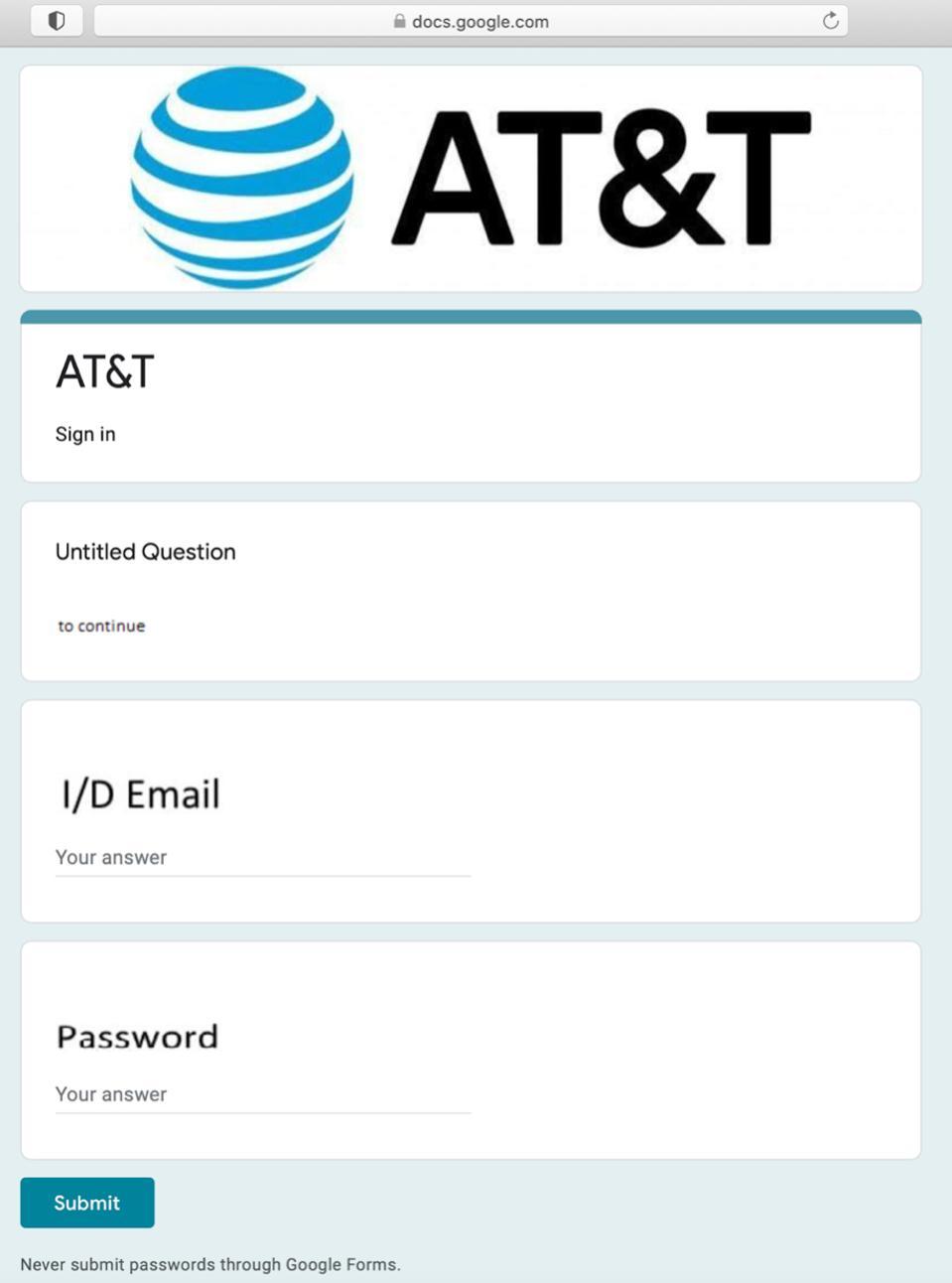 A malicious Google Form