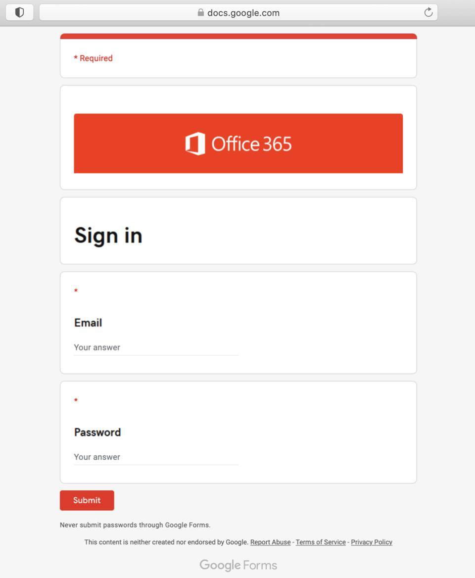 A fake Office 365 login using Google Forms