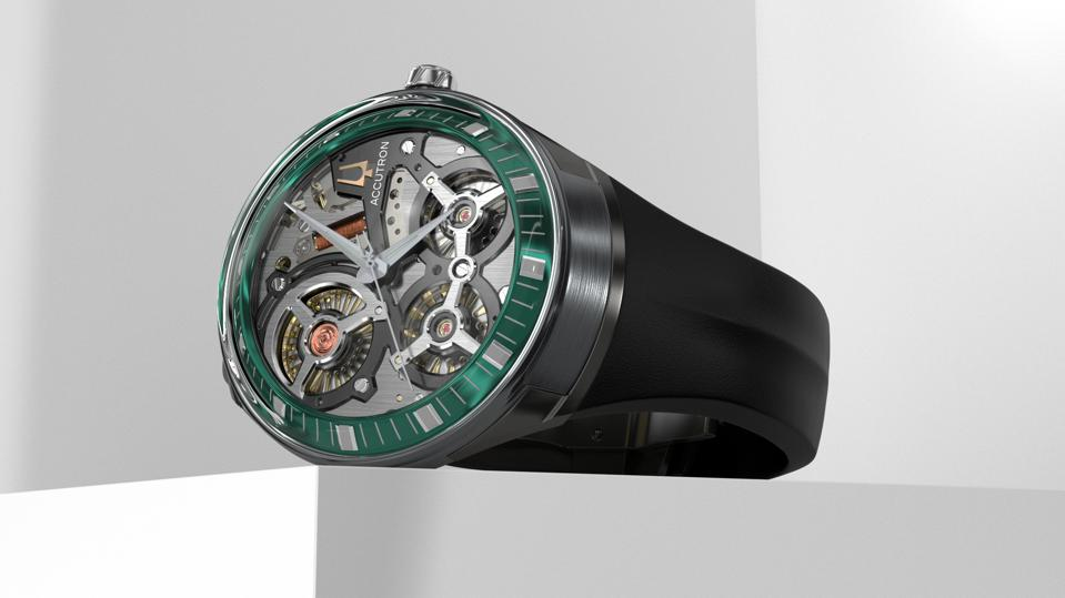 Reimagined for a new generation, the Accutron DNA showcases the precision of the proprietary electrostatic energy movement, with its intricately engineered motor and turbine system that generates power and the forward glide of the second hand.