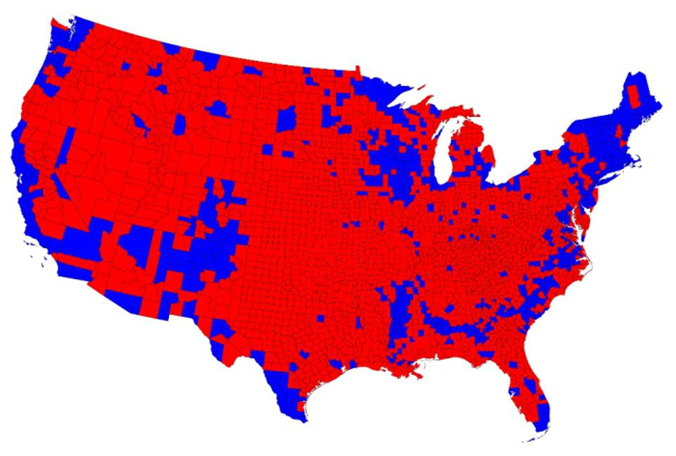 Map of the 2012 presidential election results. The states are colored red or blue to indicate whether a majority of their voters voted for the Republican candidate, Mitt Romney, or the Democratic candidate, Barack Obama, respectively.