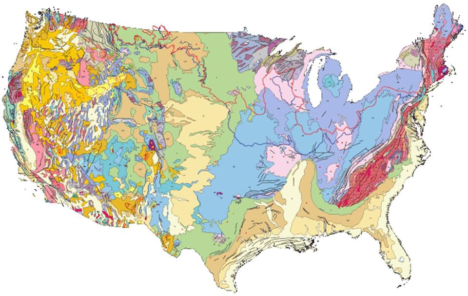 Geologic map publication from U.S. Geological Survey. The red line marks the maximal extent of the Laurentide ice sheet some 20,000 years ago.