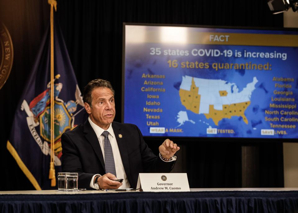 New York Governor Andrew Cuomo speaks at a news conference on the spread of Covid-19 in New York.