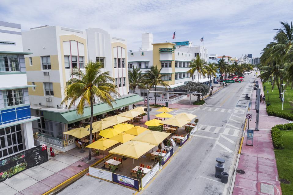 An empty Miami beach in Florida