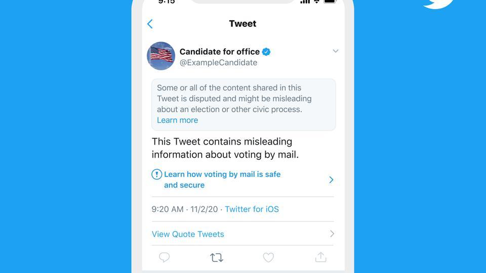 Exemple d'étiquette Twitter sur les publications contenant de la désinformation sur les élections de 2020