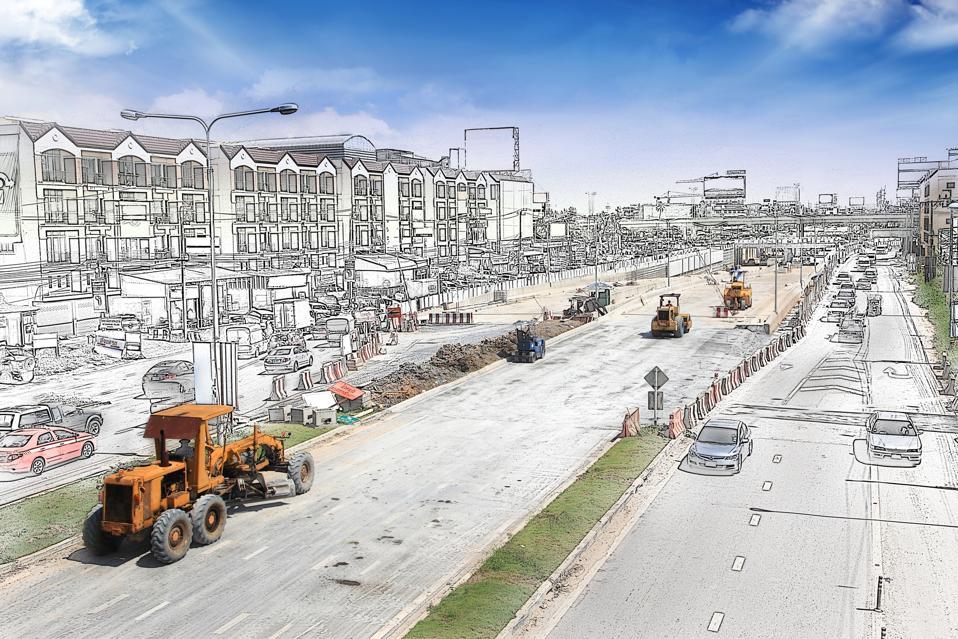 construction scene - part illustration, part image