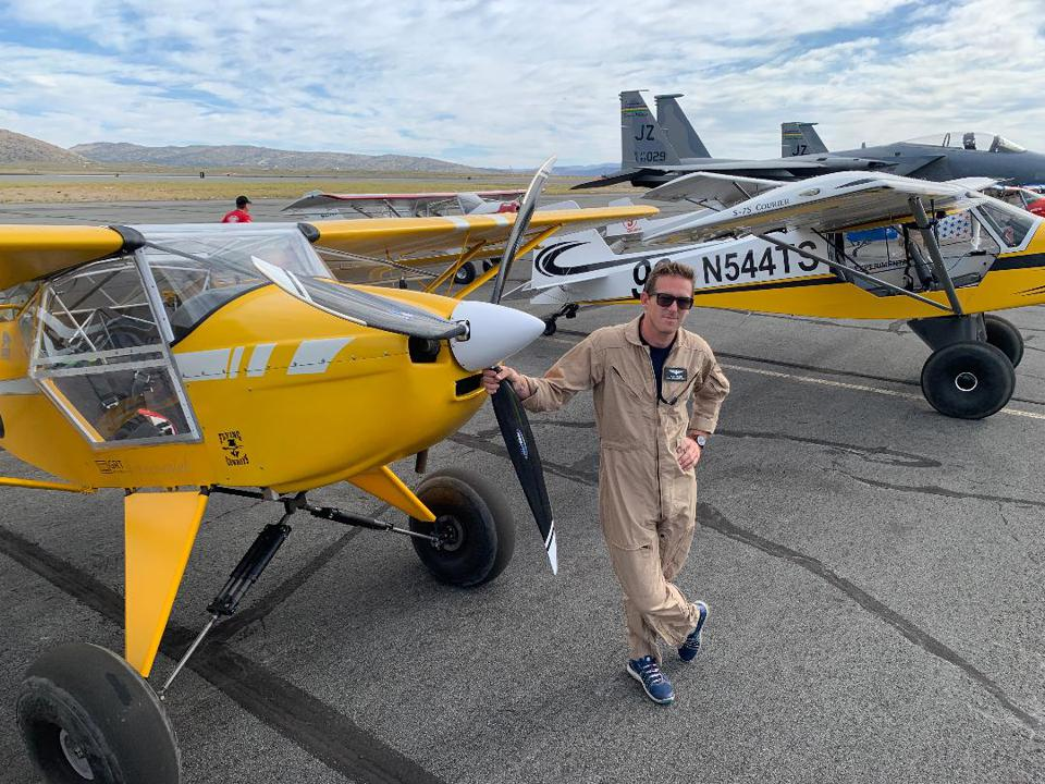 Palmer with his Kitfox short takeoff and landing (STOL) sport plane.