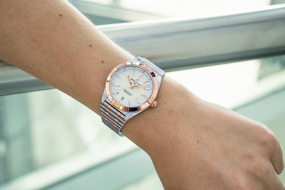 The two-tone Breitling Chronomat for ladies.