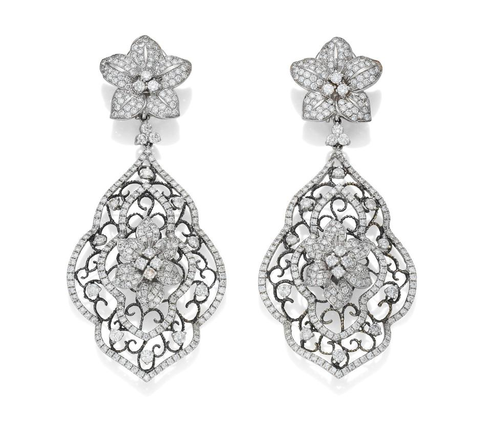 Diamond pendent earrings owned by Joan Collins with an estimate of $2,600 – $3,900