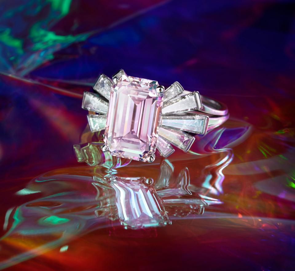 3.62-carat fancy pink diamond on a ring by Meister with an estimate of $700,000 – $950,000
