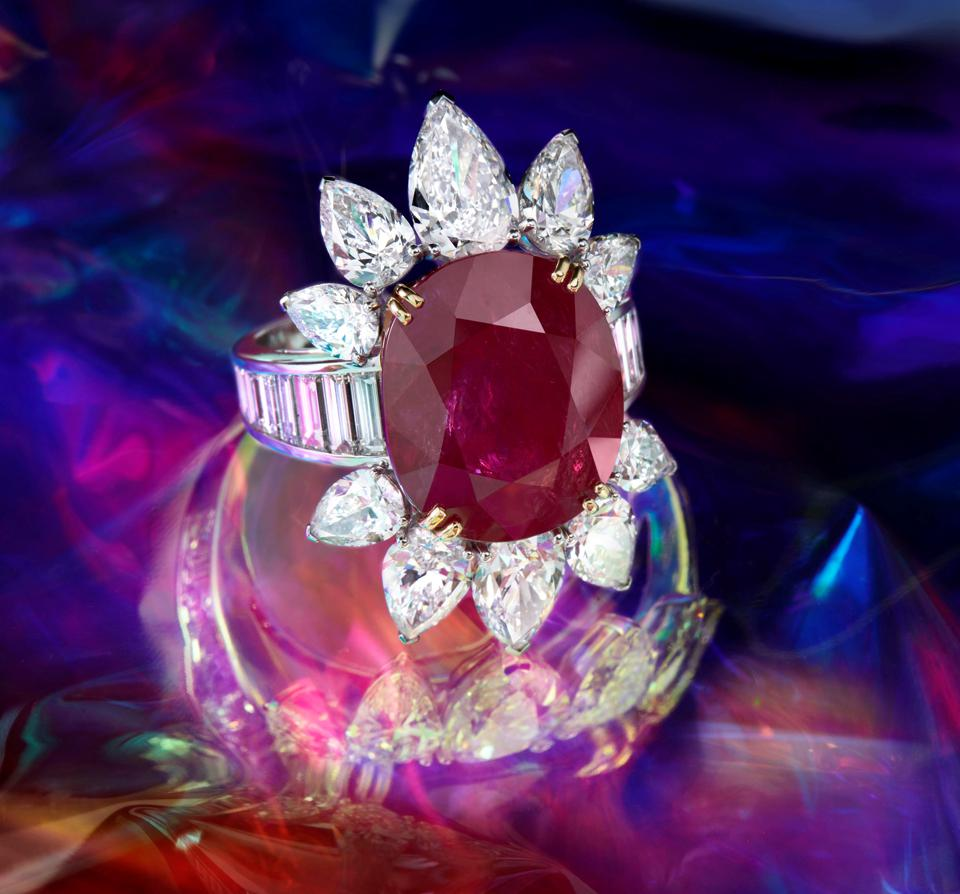 A ruby and diamond ring by Repossi with an estimate of $450,000 - $580,000