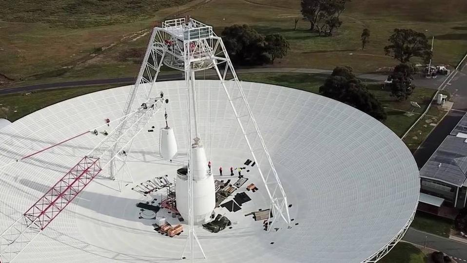 Repairs being conducted to the 70-meter dish that's part of NASA's Deep Space Network.