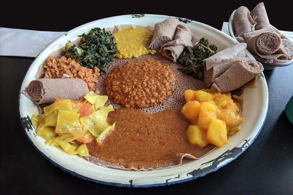 Vegetarian Combo for two with Spicy Red Lentils, Split Peas, Spinach, Collard greens, Cabbage, Potatoes and Carrots