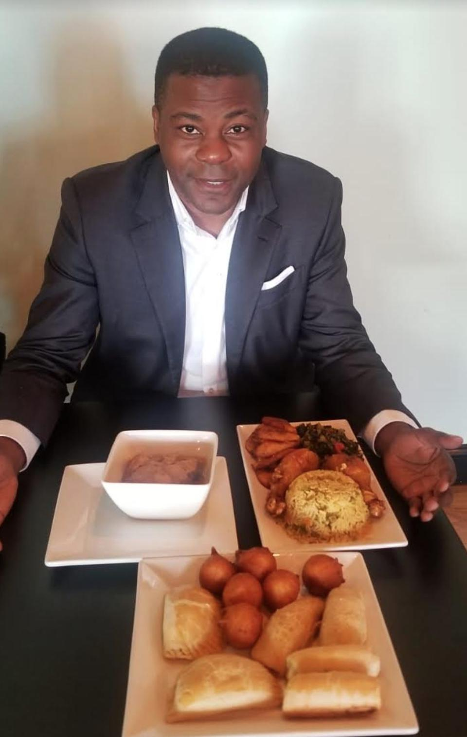 Philippe King with food from his roots.