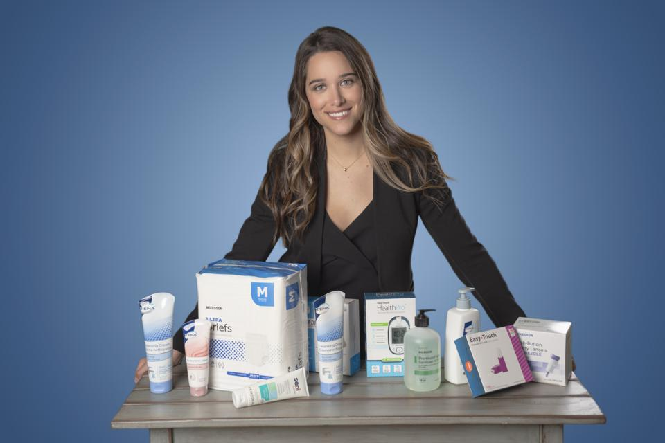Bianca Padilla, co-founder and CEO of Carewell with some products for the elderly population.