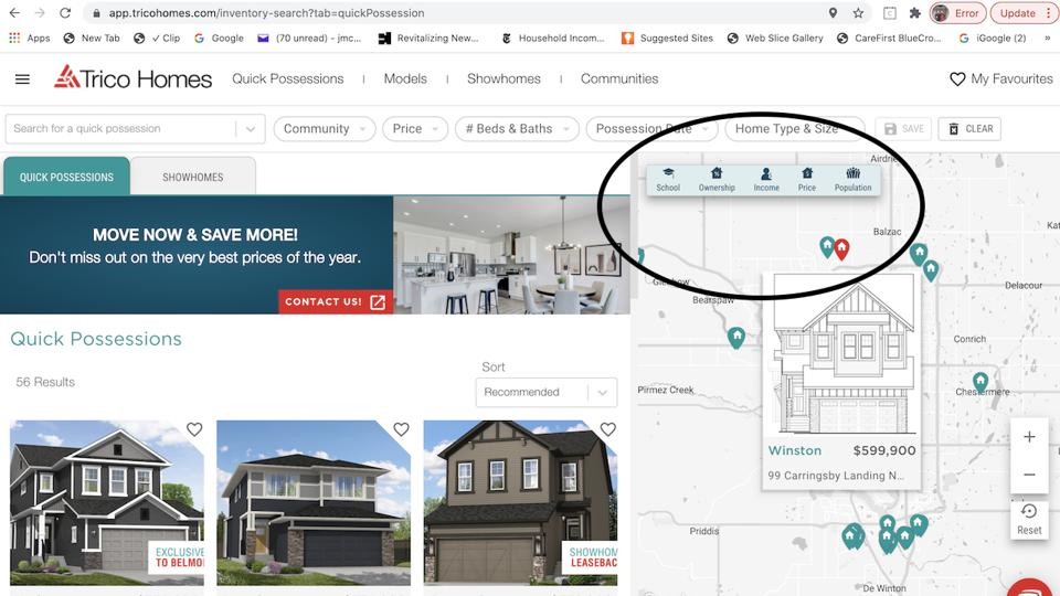 A screen-shot of homebuilder Trico Homes' website shows new online-dating style AI engagement aimed to improve the homeshopping experience.