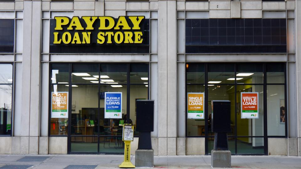 Exterior view of a Payday Loan Store