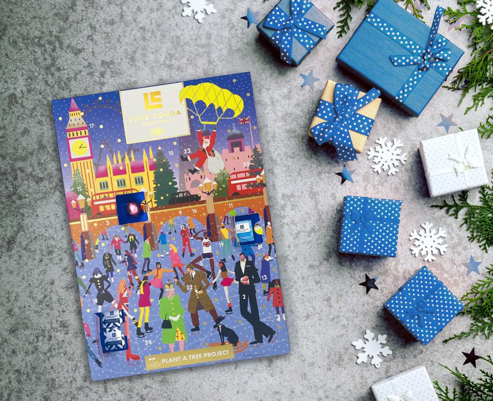 advent calendar and gifts in boxes