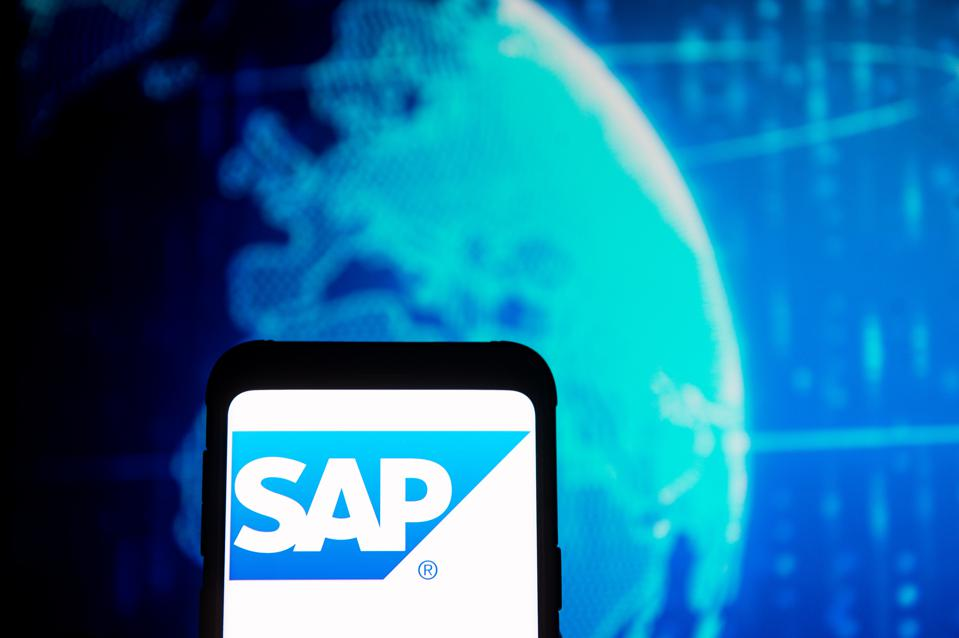 In this photo illustration a SAP Technology logo seen...
