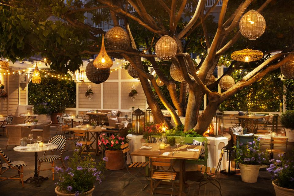 Large tree adorned with lanterns and small chairs and tables