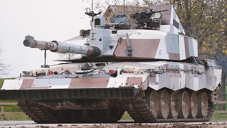 Tank with urban camouflage scheme