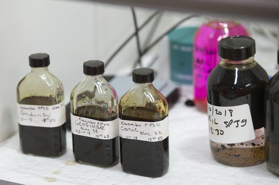 How oil samples should have been collected along the entire coast of Mauritius.   Seen here, samples taken by French company Total, from spills around Angola in 2018.