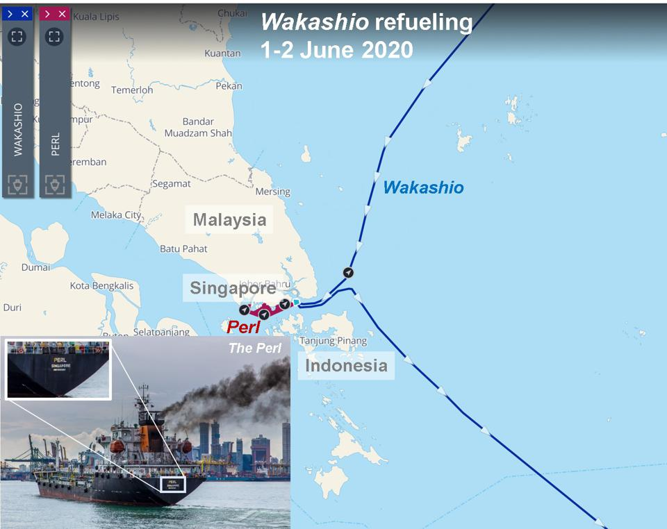 Fuelling of the Wakashio by The Perl, captured by satellite on June 1 -2 2020