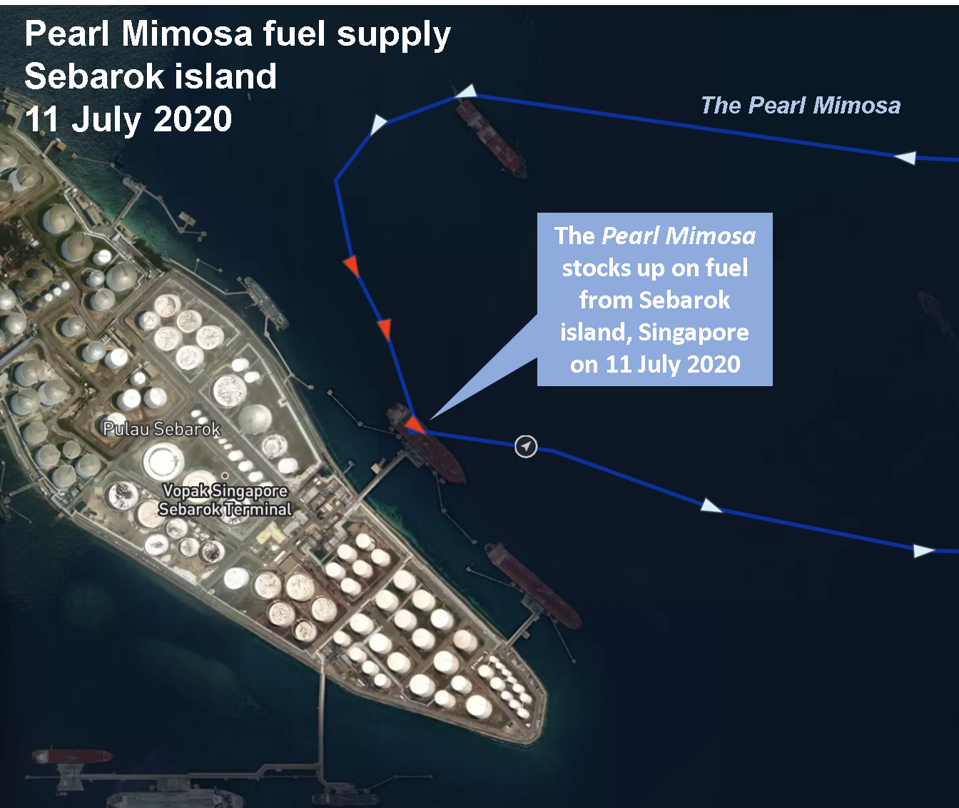Satellite analysis also reveals where the fueling vessels like the Pearl Mimosa stock up from.  In this case, it was from the Vopak Singapore Terminal on the petrochemical island of Sebarok