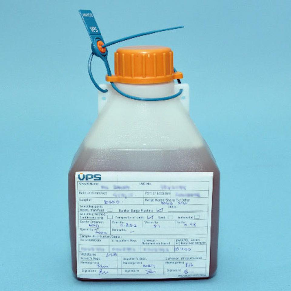 The IMO requires a secure seal around the samples of the oil, as seen here in blue.  Seal numbers considerably enhance the security of the samples.