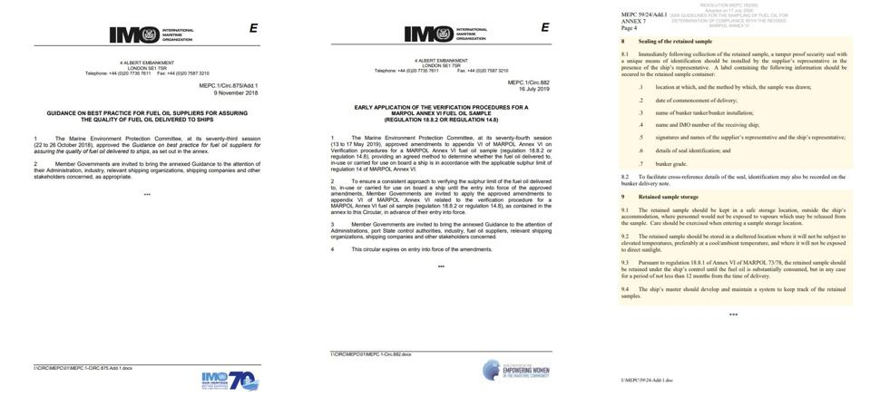 The IMO laws from 2018, 2019 and 2009 that clearly set out the protocols for sampling, storing and documenting the oil samples from vessels such as the Wakashio
