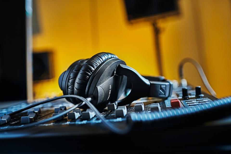 Pair of Sennheiser HD280 Pro headphones on a mixing desk