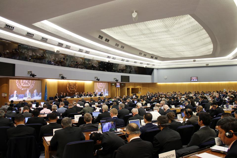 Talks are set to be finalized in November on the final emission targets for shipping.  Seen here, the IMO Assembly before the coronavirus pandemic