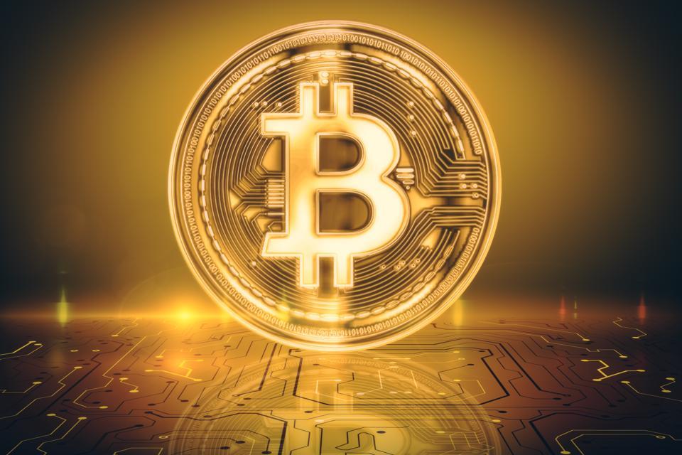 Fundo dourado bitcoin