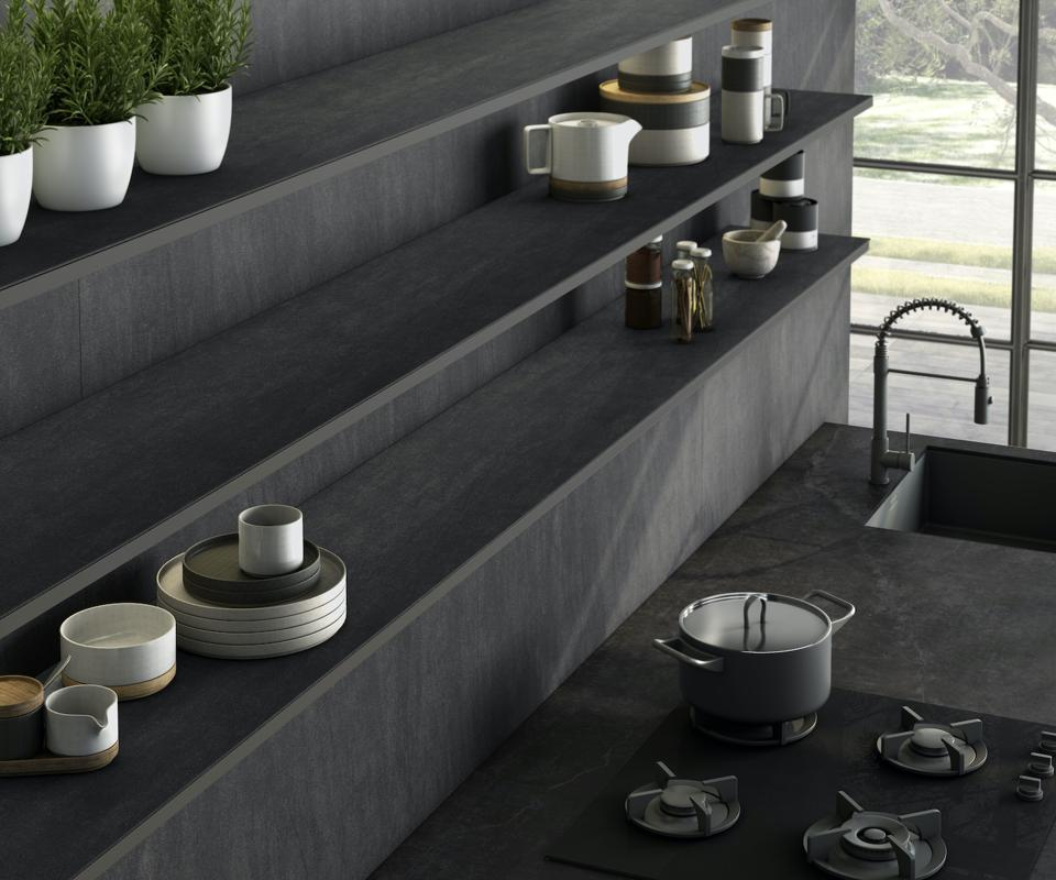 This is a slim Dekton surfacing used on the countertop and shelving