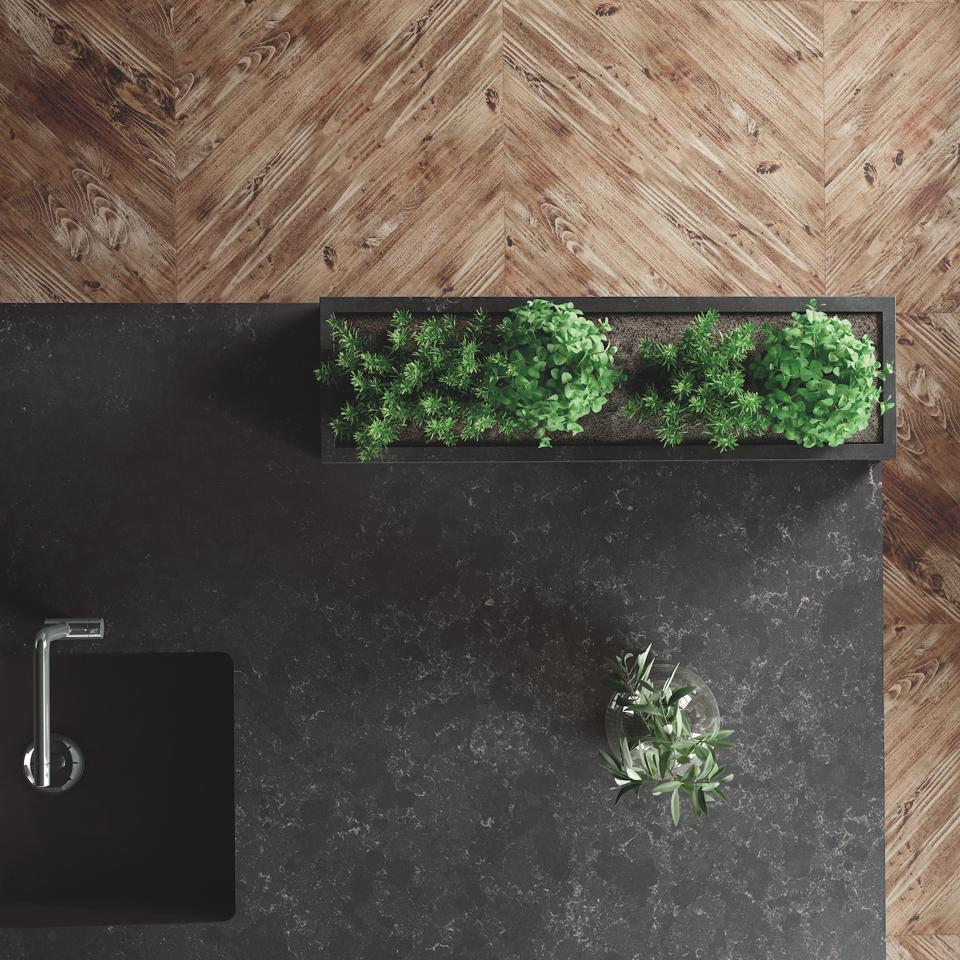 Silestone surfacing used for the countertop in this kitchen.