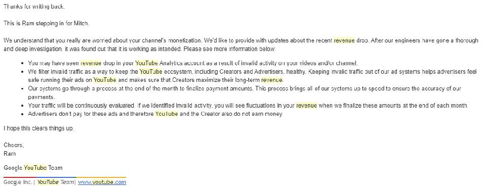 Form letter from YouTube on the #youtubewagetheft issue.