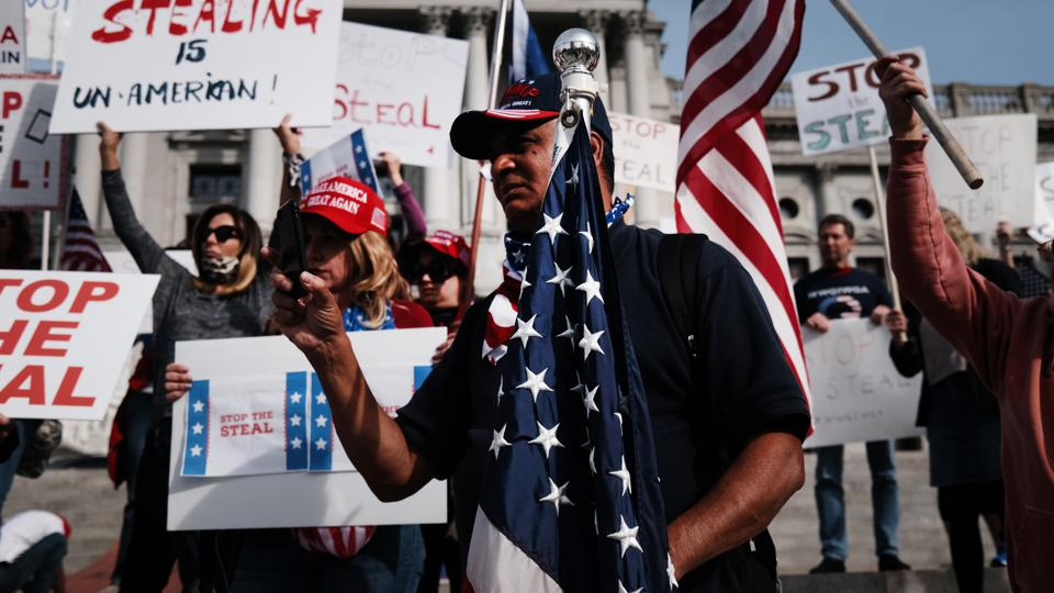 Trump Supporters Hold ″Stop The Steal″ Protest At Pennsylvania State Capitol