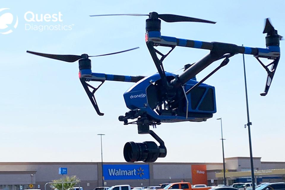Walmart partners with Quest Diagnostics and DroneUp to use drones for delivery.
