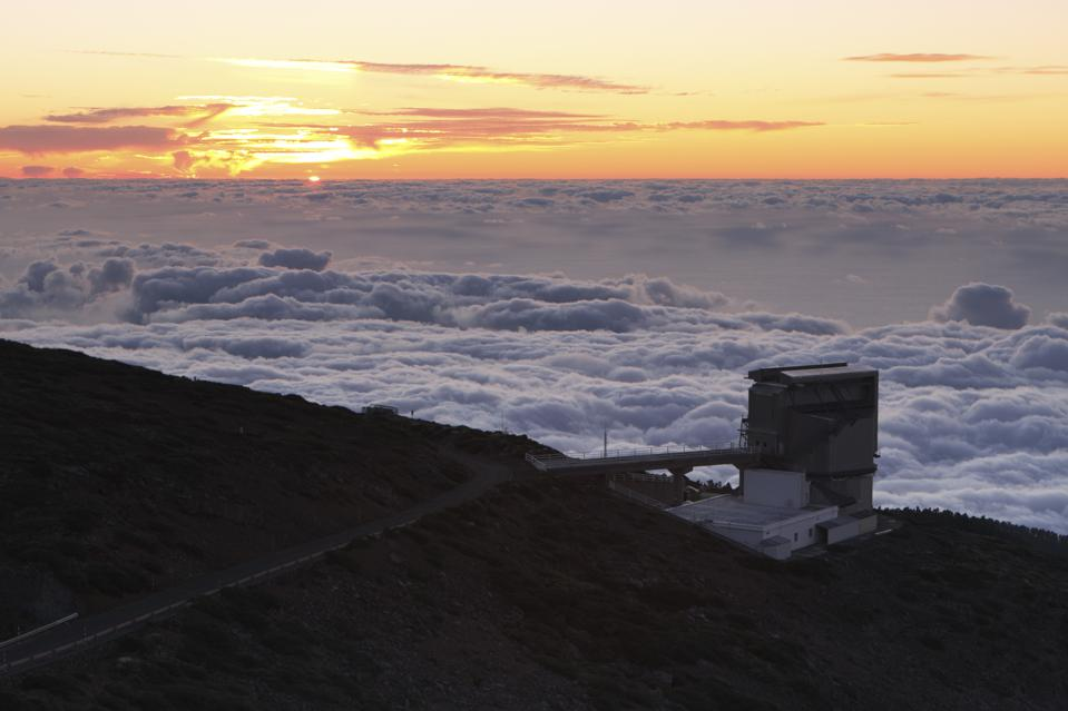 Telescopio Nazionale Galileo (TNG) at the incredible Roque de Los Muchachos, at an altitude of just over 2400 meters the highest point on La Palma in the Canary Islands, Spain. TNG is a 3.58 metre reflecting telescope operated on behalf of the Italian National Institute of Astrophysics that began observing in 1998. (Photo by Peter Thompson/Heritage Images/Getty Images)