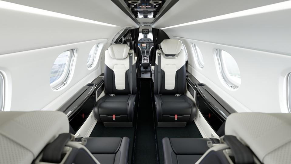 Stylish private jet cabn