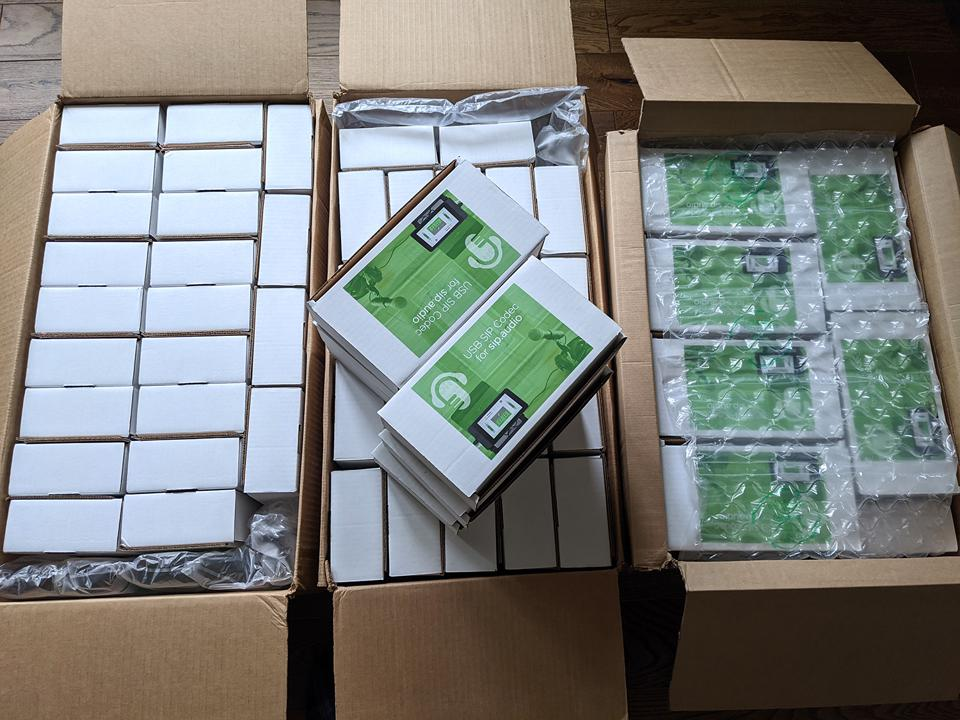 Boxes of In:Quality USB SIP Codecs ready for dispatch