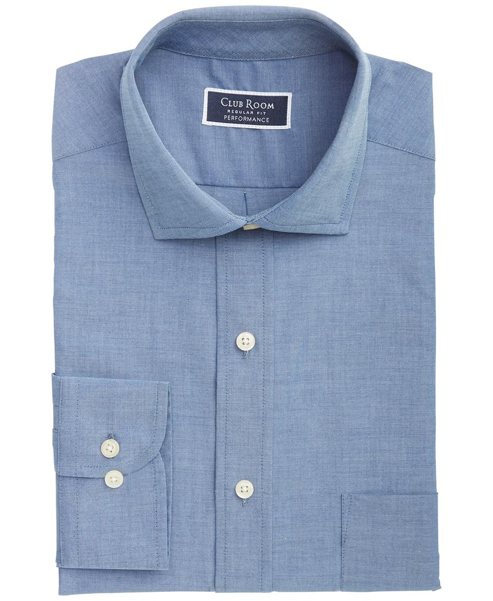 Club Room Men's Classic/Regular-Fit Performance Stretch Chambray Dress Shirt