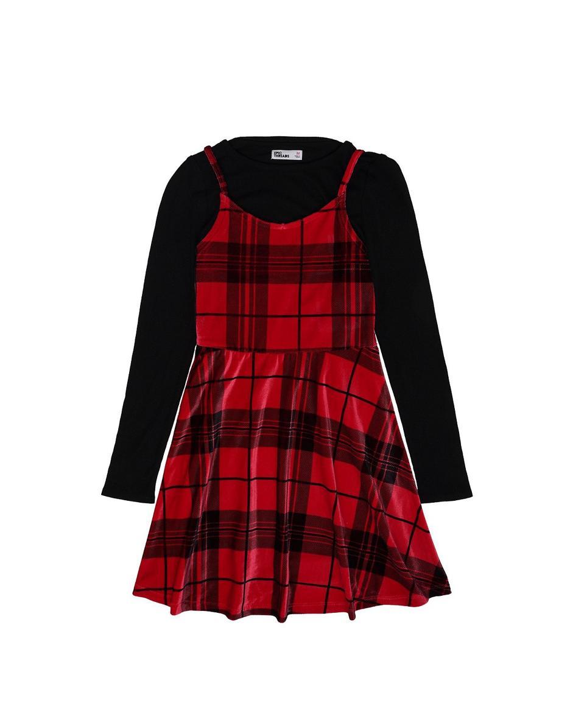 Epic Threads Big Girls Velvet Plaid Dress with Long Sleeve Tee