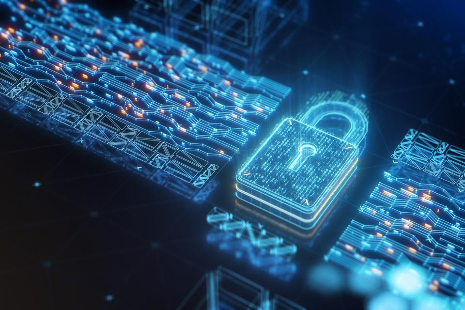 Digital data security padlock with binary code