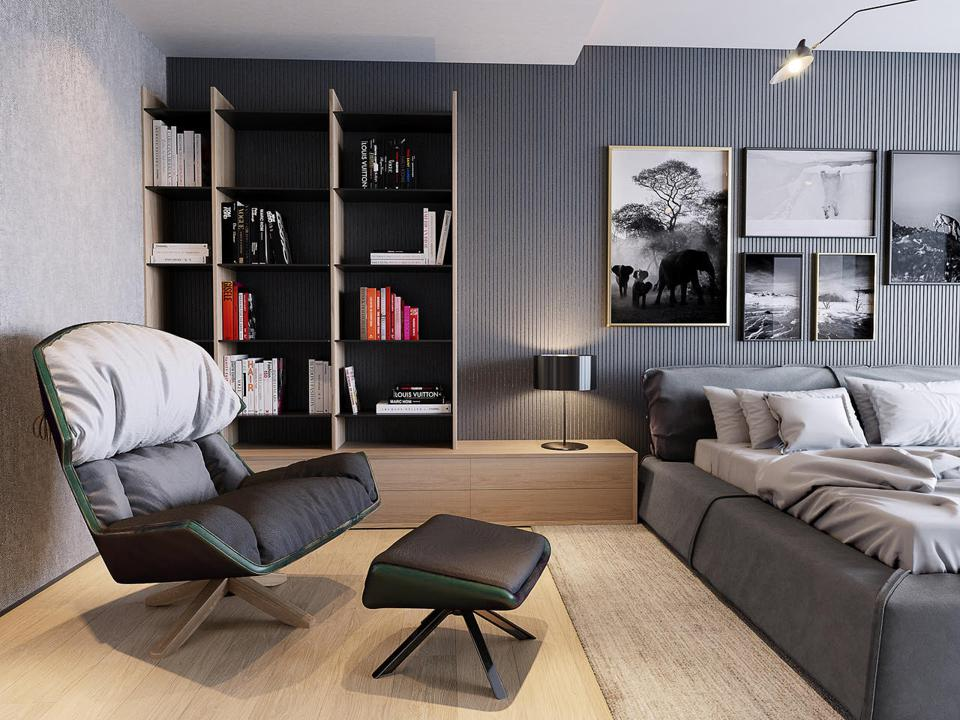 Contemporary bedroom themed around a photo collection
