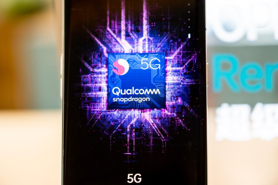 Qualcomm Snapdragon mobile processors sign seen on the...